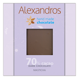 chocolates alexandros hand made dark 70% cacao me  masticha