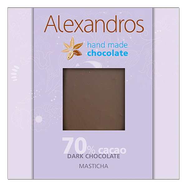 chocolates alexandros hand made dark 70% cacao me  masticha