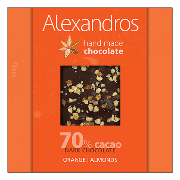 chocolates alexandros hand made dark 70% cacao me orange & almonds