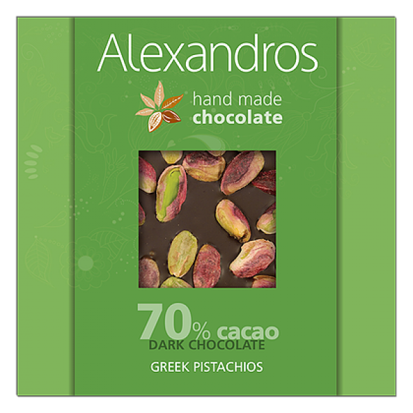 Chocolates alexandros hand made dark 70% cacao greek pistachios