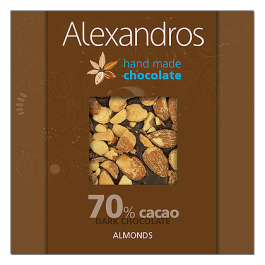 chocolates alexandros hand made dark 70% cacao me almonds