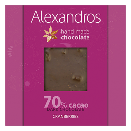 chocolates alexandros hand made dark 70% cacao me  cranberries