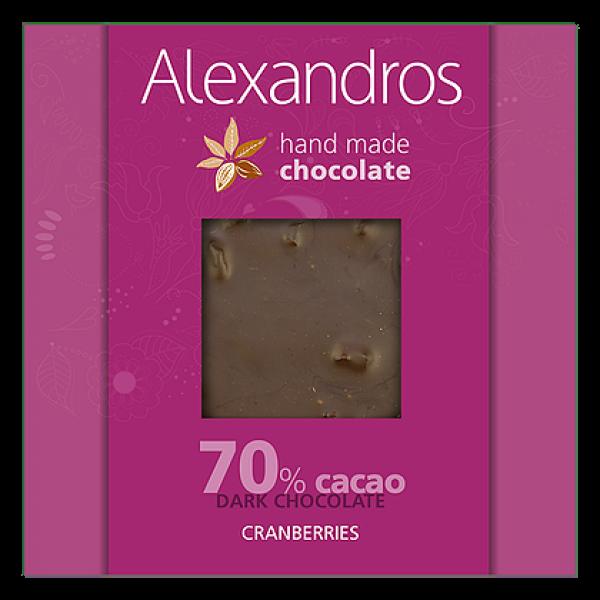 chocolates alexandros hand made dark 70% cacao me  cranberries